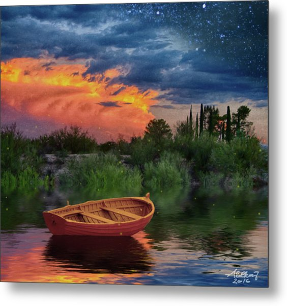 Sparkle Pond Metal Print
