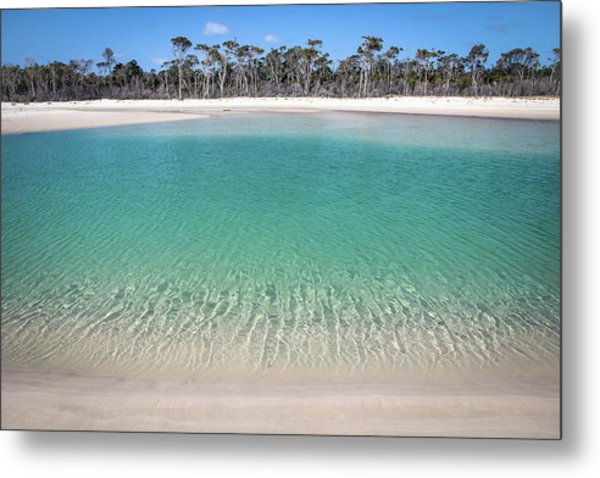 Sparkling Beach Lagoon On Deserted Beach Metal Print