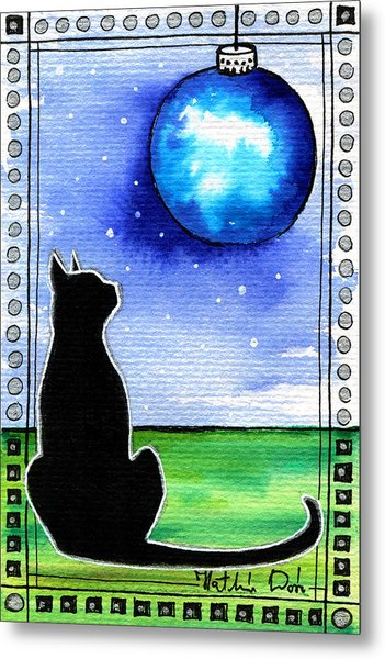 Sparkling Blue Bauble - Christmas Cat Metal Print