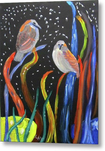 Metal Print featuring the painting Sparrows Inspired By Chihuly by Linda Feinberg