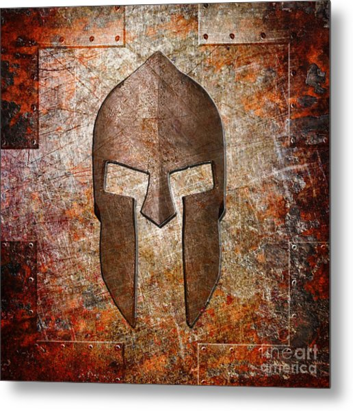 Spartan Helmet On Rusted Riveted Metal Sheet Metal Print
