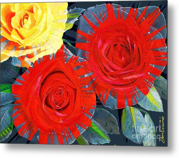 Spattered Colors On Roses Metal Print by Don Evans