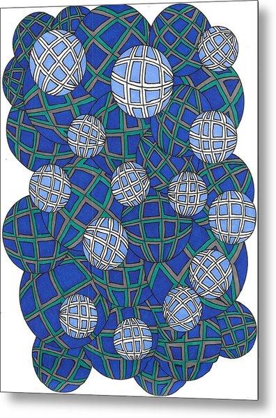 Spheres In Blue Metal Print