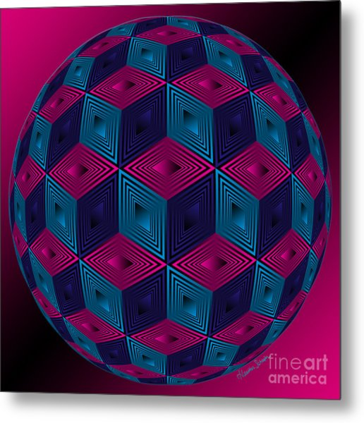 Spherized Pink Purple Blue And Black Hexa Metal Print