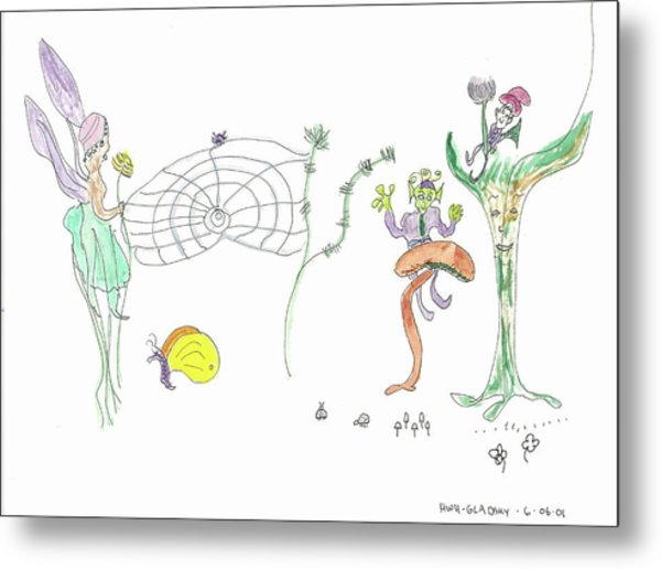 Spider Web And Fairies Metal Print
