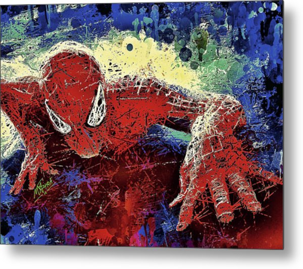 Spiderman Climbing  Metal Print