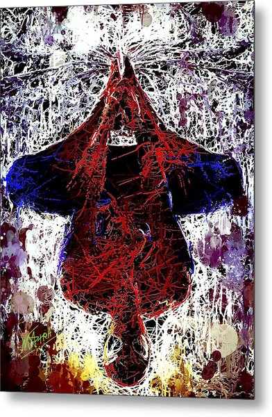 Spiderman Hanging Around Metal Print