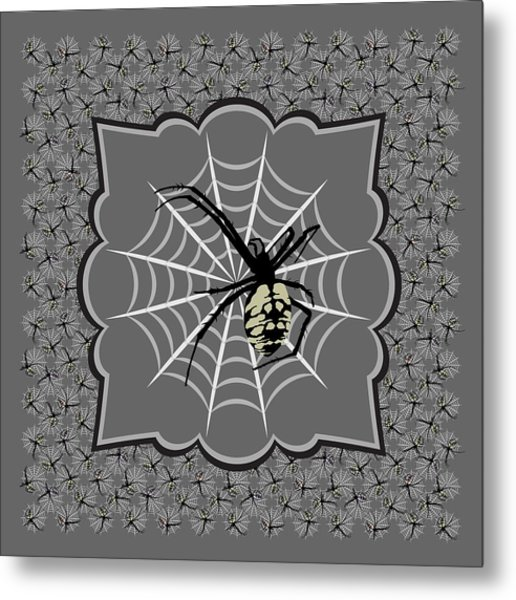 Spiders And Webs, Gray And Black Metal Print