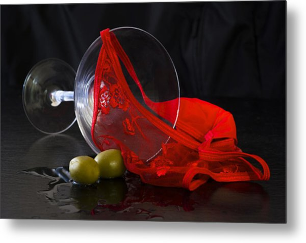 Spilled Martini With Red Panties Metal Print