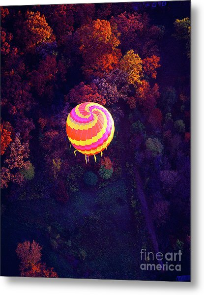 Spiral Colored Hot Air Balloon Over Fall Tree Tops Mchenry   Metal Print