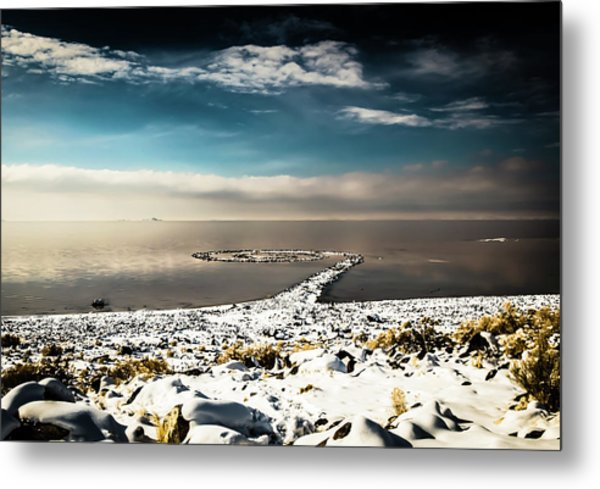Metal Print featuring the photograph Spiral Jetty In Winter by Bryan Carter