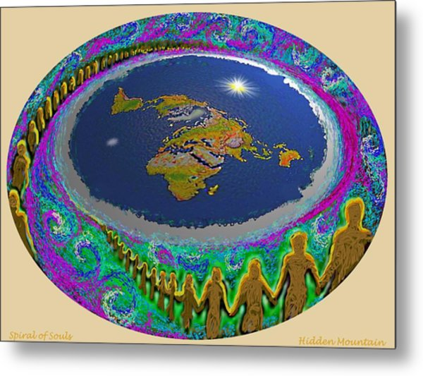Spiral Of Souls Flat Earth Metal Print