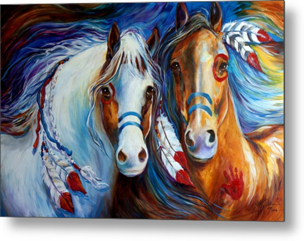 Spirit Indian War Horses Commission Metal Print