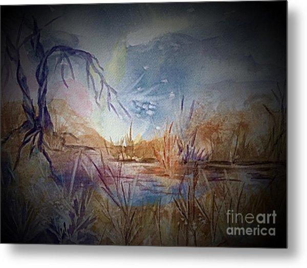 Spirit Lights Over The Marsh Vignette  Metal Print