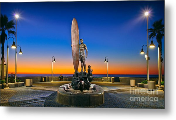 Spirit Of Imperial Beach Surfer Sculpture Metal Print
