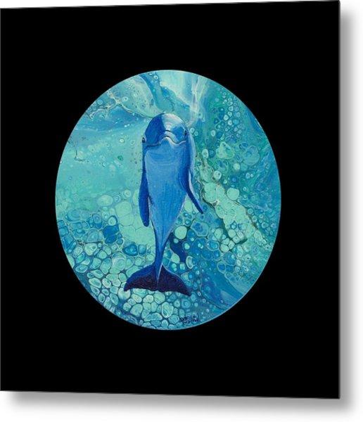 Metal Print featuring the painting Spirit Of The Ocean On Black by Darice Machel McGuire