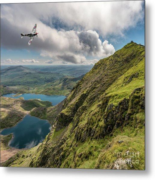 Spitfire Over Snowdon Metal Print