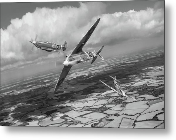 Metal Print featuring the photograph Spitfire Tr 9 Fighter Affiliation Bw Version by Gary Eason