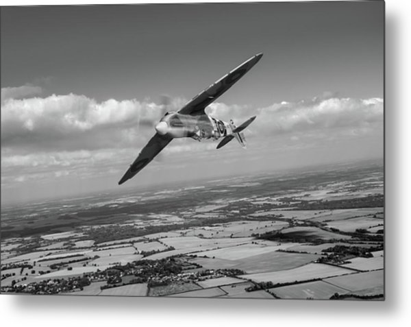 Metal Print featuring the photograph Spitfire Tr 9 On A Roll Bw Version by Gary Eason