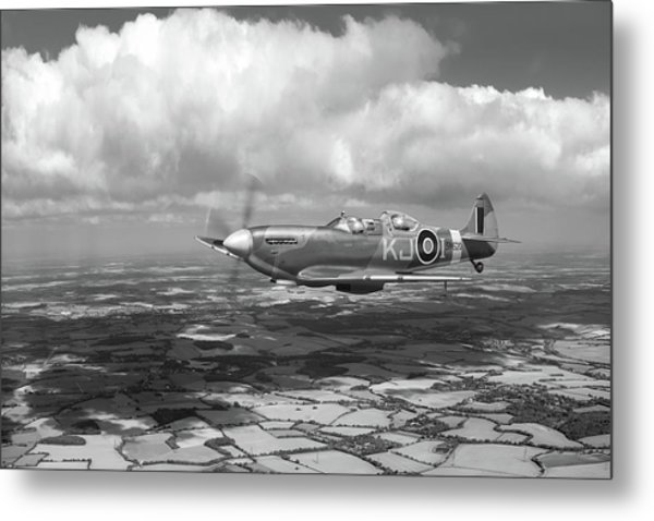 Metal Print featuring the photograph Spitfire Tr 9 Sm520 Bw Version by Gary Eason