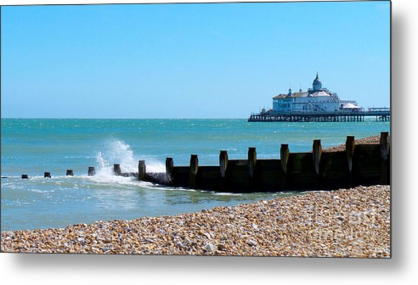 Splashing Waves By The Sea Metal Print