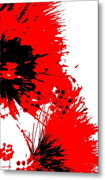 Splatter Black White And Red Series Metal Print