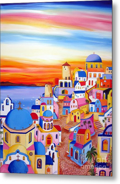 Splendid Santorini Sunset My Way Metal Print