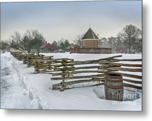 Split Rail Fence In Front Of Colonial Williamsburg Magazine Metal Print