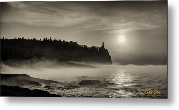 Split Rock Lighthouse Emerging Fog Metal Print