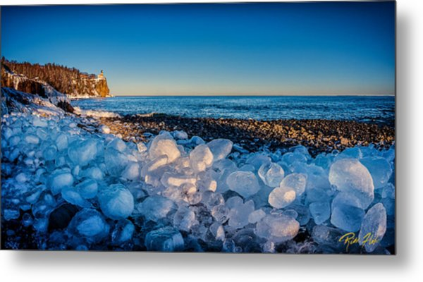 Split Rock Lighthouse With Ice Balls Metal Print