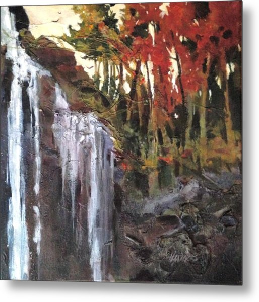 Metal Print featuring the painting Splitrock Falls by Helen Harris