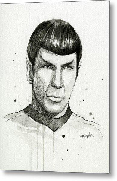 Spock Watercolor Portrait Metal Print