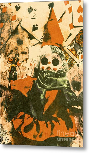 Spooky Carnival Clown Doll Metal Print
