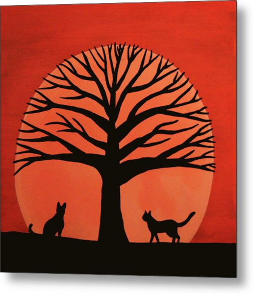Spooky Cat Tree Metal Print
