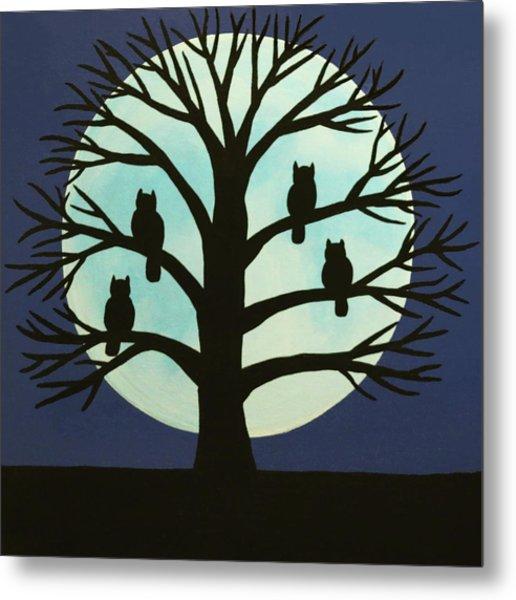 Spooky Owl Tree Metal Print