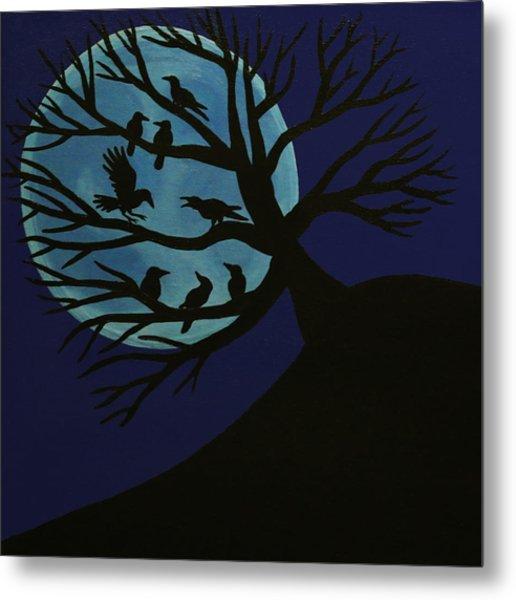 Spooky Raven Tree Metal Print