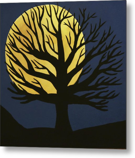 Spooky Tree Yellow Metal Print