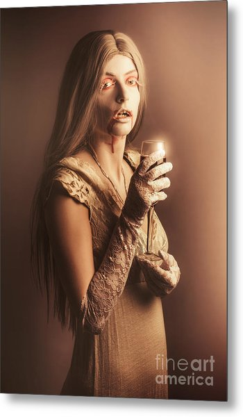 Spooky Vampire Girl Drinking A Glass Of Red Wine Metal Print