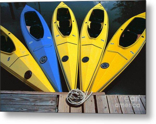 sports boat photography - Yellow Kayaks Metal Print