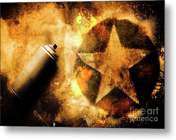 Spray Can With Army Star Graffiti Metal Print