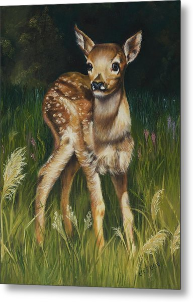 Spring Baby Fawn Metal Print