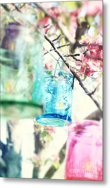 Spring Blossoms And Candles Metal Print