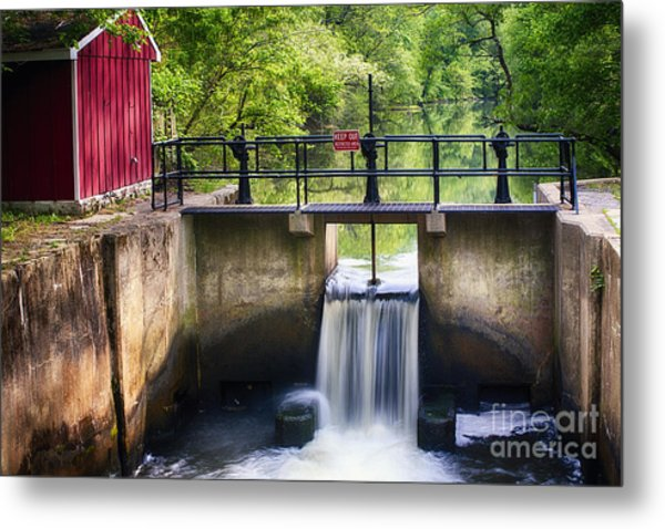 Spring Canal Lock Scene  Metal Print by George Oze