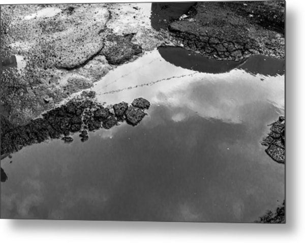 Spring Clouds Puddle Reflection Metal Print