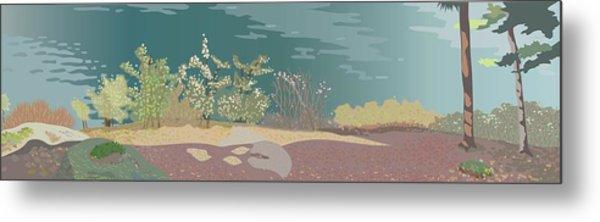 Spring Flora On Lake Shore Metal Print by Marian Federspiel