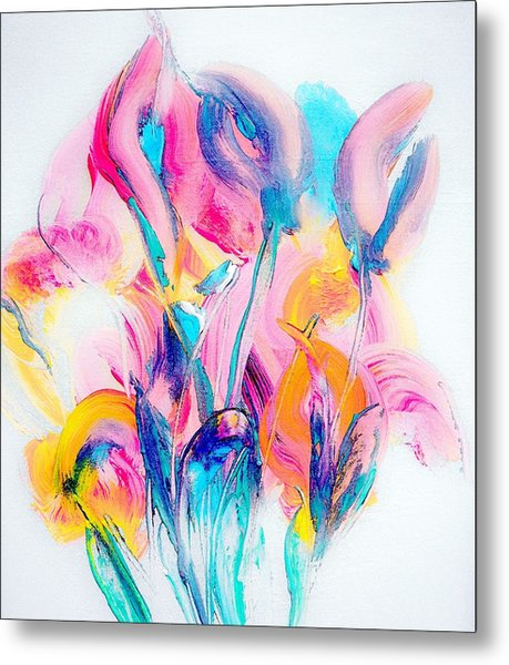 Spring Floral Abstract Metal Print