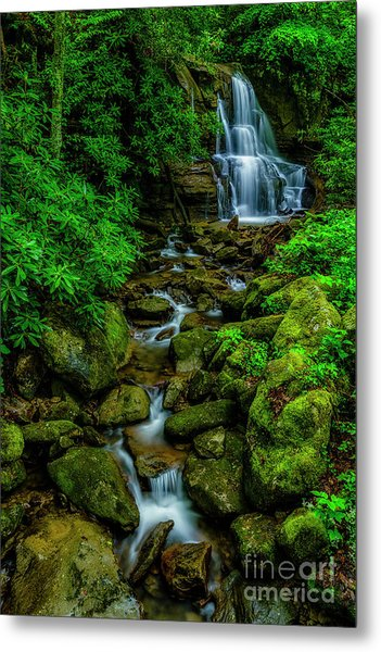 Spring Green Waterfall And Rhododendron Metal Print