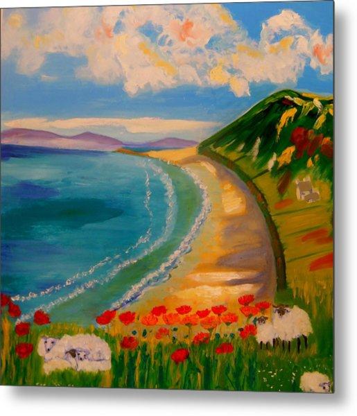 Spring Lambs At Rhossili Bay Metal Print