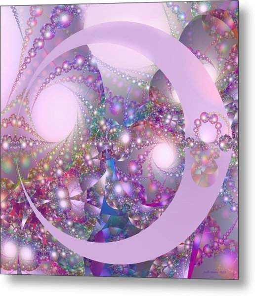 Spring Moon Bubble Fractal Metal Print