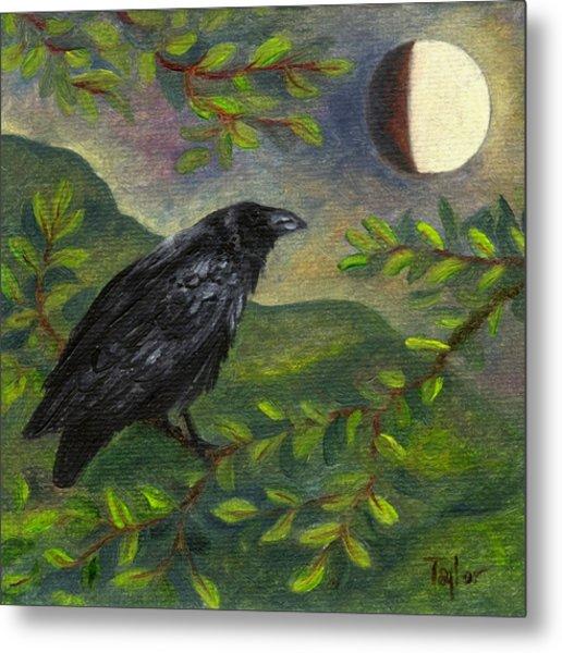 Spring Moon Raven Metal Print